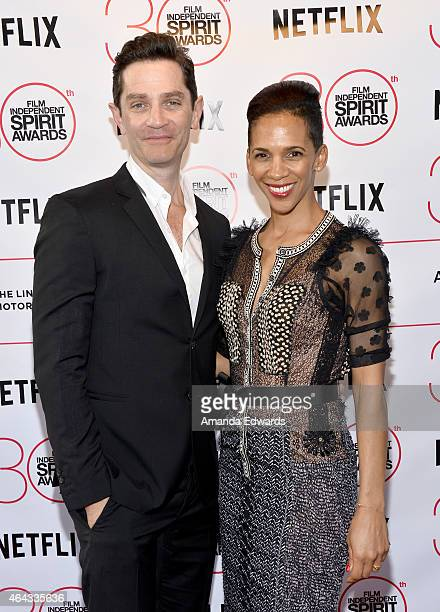 Actor James Frain and director Marta Cunningham attend the 2015 Film Independent Spirit Awards after party at The Bungalow on February 21 2015 in...