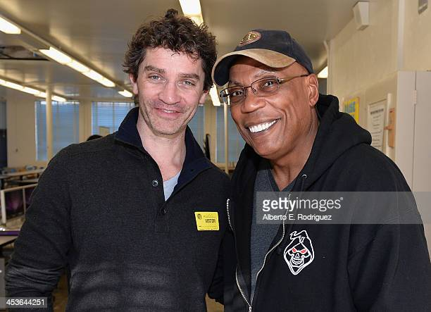 Actor James Frain and director Paris Barclay attend a BAFTA LA Master Class at Washington Prep High School on December 4 2013 in Los Angeles...