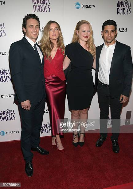 Actor James Franco actress Amber Heard writer/director Pamela Romanowsky and actor Wilmer Valderama attend A24/DIRECTV's The Adderall Diaires...