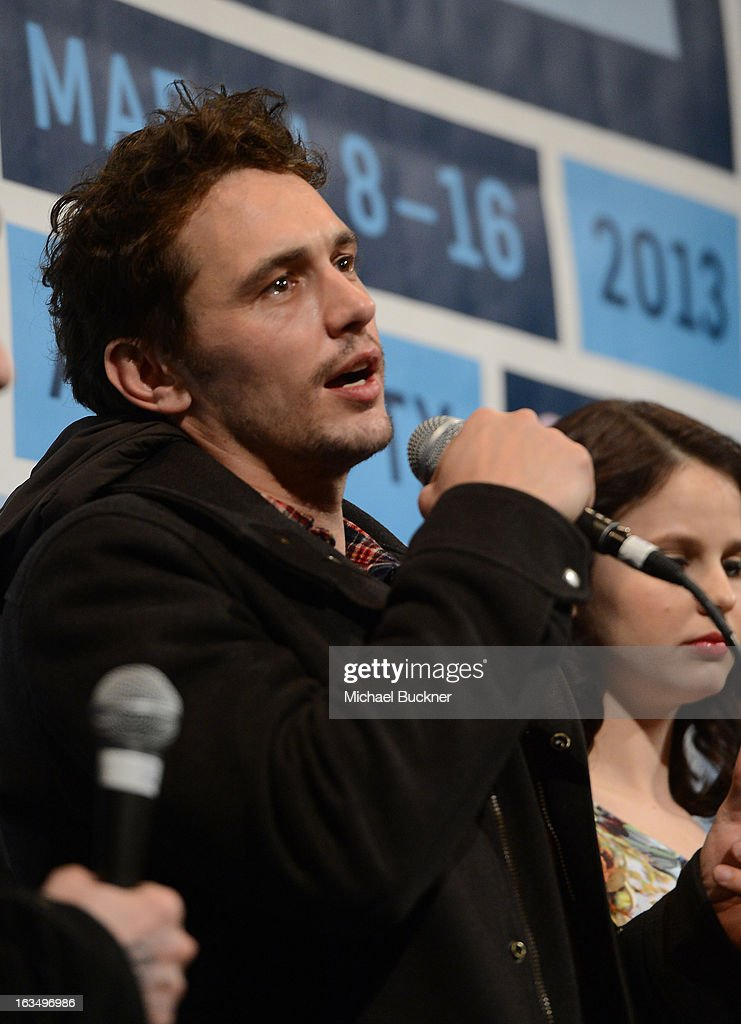 Actor James Franco (L) and actress Rachel Korine speak at the Q & A for 'Spring Breakers' during the 2013 SXSW Music, Film + Interactive at the Paramount Theatre on March 10, 2013 in Austin, Texas.