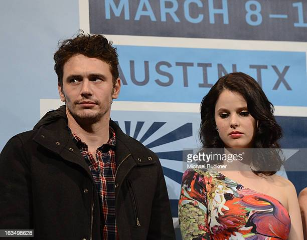 Actor James Franco and actress Rachel Korine speak at the Q A for Spring Breakers during the 2013 SXSW Music Film Interactive at the Paramount...