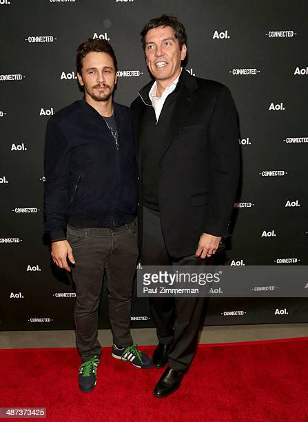 Actor James Franco and AOL Chairman and CEO Tim Armstrong attend the 2014 AOL NewFront at the Duggal Greenhouse on April 29 2014 in the Brooklyn...
