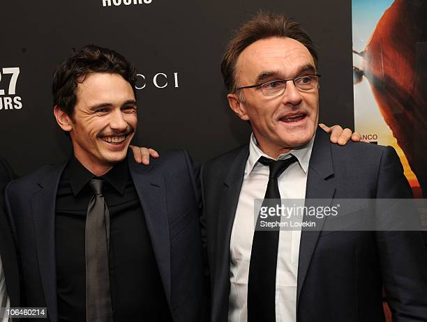 Actor James Franco and Director Danny Boyle attend the New York premiere of '127 Hours' at Chelsea Clearview Cinema on November 2 2010 in New York...
