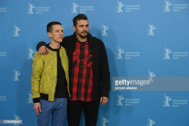 Actor James Franco and director Justin Kelly pose during a photocall for 'I am Michael' at the 65th International Film Festival in Berlin Germany 09...