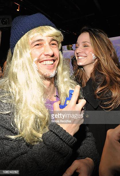 Actor James Franco and Hannah Forbes attend the 'Three's Company The Drama' After Party at the NIVEA For MEN Lounge during 2011 Park City on January...