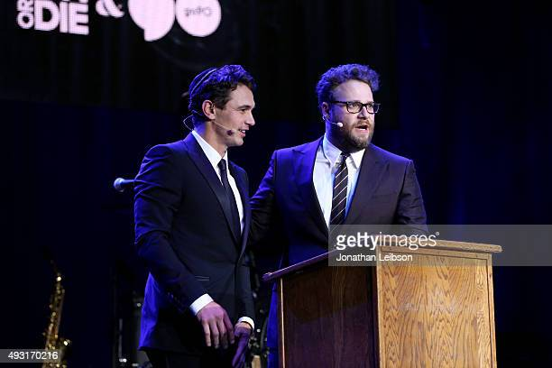 Actor James Franco and Hilarity for Charity cofounder/show host Seth Rogen perform onstage during Hilarity for Charity's annual variety show James...