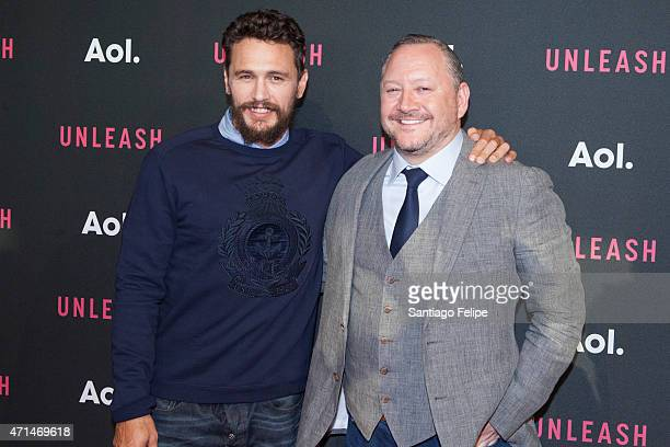 Actor James Franco and President of Video and AOL Studios Dermot McCormack at AOL Newfront 2015 at 4 World Trade Center on April 28 2015 in New York...