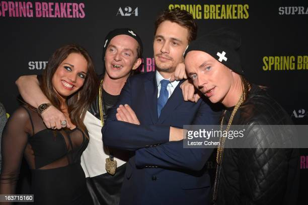 """Actor James Franco and The ATL Twins attend the """"Spring Breakers"""" Los Angeles Premiere at ArcLight Hollywood on March 14, 2013 in Hollywood,..."""