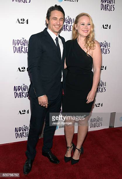 Actor James Franco and writer/director Pamela Romanowsky attend A24/DIRECTV's The Adderall Diaires Premiere at ArcLight Hollywood on April 12 2016 in...