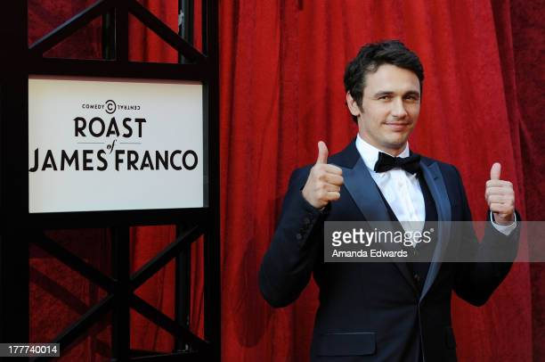 Actor James Franco arrives at the Comedy Central Roast of James Franco at Culver Studios on August 25 2013 in Culver City California
