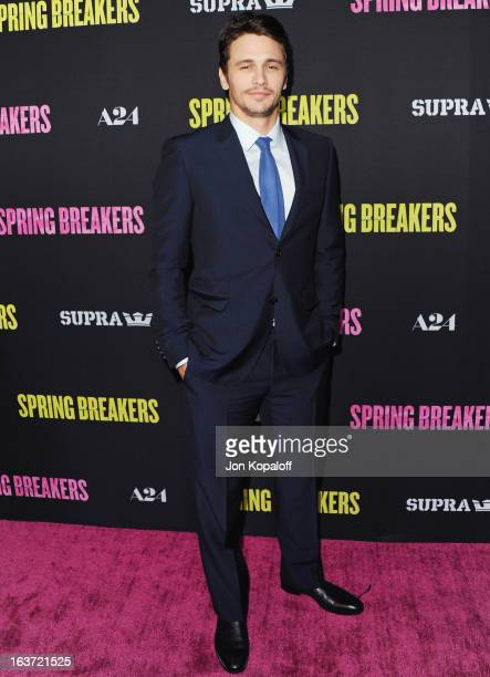 Actor James Franco arrives at the Los Angeles Premiere 'Spring Breakers' at ArcLight Hollywood on March 14 2013 in Hollywood California