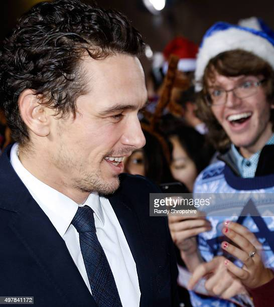 Actor James Franco arrives to the premiere of 'The Night Before' at The Theatre At The Ace Hotel on November 18 2015 in Los Angeles California