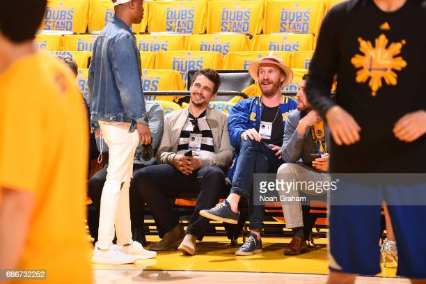 Actor James Franco attends Game One of the Western Conference Finals between the San Antonio Spurs and the Golden State Warriors during the 2017 NBA...