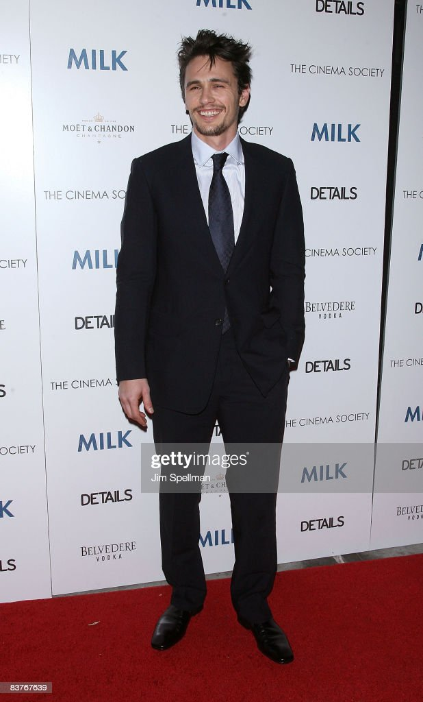 Actor James Franco attends the Cinema Society and Details screening of 'Milk' at the Landmark Sunshine Theater on November 18, 2008 in New York City.