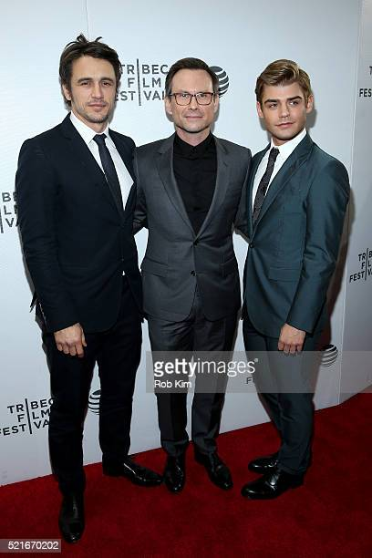 Actor James Franco Christian Slater and Garrett Clayton attend the 'King Cobra' Premiere 2016 Tribeca Film Festival at Regal Battery Park Cinemas on...