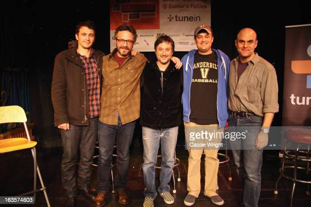 Actor James Franco comedian Marc Maron filmmaker Harmony Korine comedian Nate Bargatze and writer Peter Sagal attend the WTF Podcast with Marc Maron...