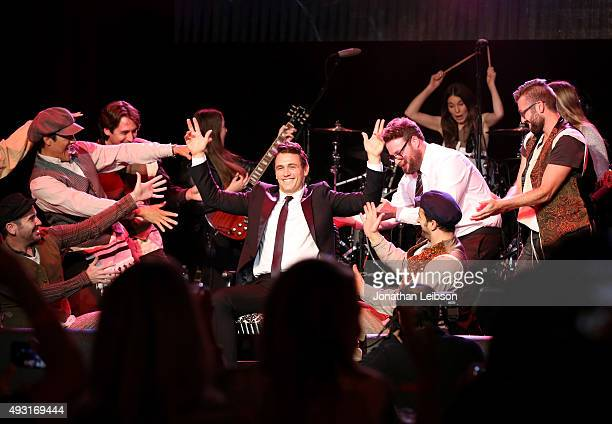 Actor James Franco , Hilarity for Charity co-founder/show host Seth Rogen , members of the music group HAIM and variety show performers perform...