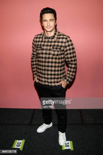Actor James Franco poses backstage for Coach Spring 2018 fashion show during New York Fashion Week at Basketball City Pier 36 South Street on...