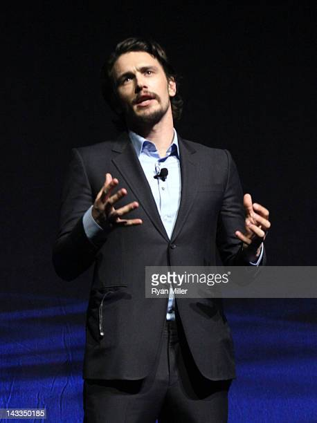 Actor James Franco speaks onstage at Caesars Palace during CinemaCon the official convention of the National Association of Theatre Owners April 24...