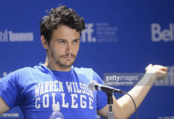 Actor James Franco speaks onstage at the Spring Breakers press conference during the 2012 Toronto International Film Festival at TIFF Bell Lightbox...