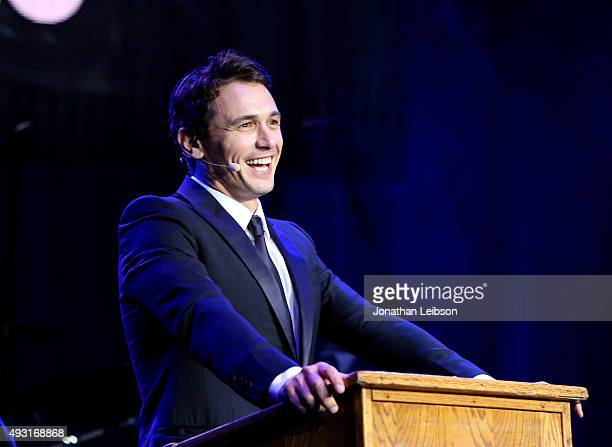 Actor James Franco speaks onstage during Hilarity for Charity's annual variety show: James Franco's Bar Mitzvah, benefiting the Alzheimer's...