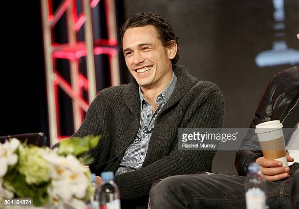 Actor James Franco speaks onstage during the Hulu 2016 Winter TCA Press Tour '112263' panel at The Langham Huntington Hotel and Spa on January 9 2016...