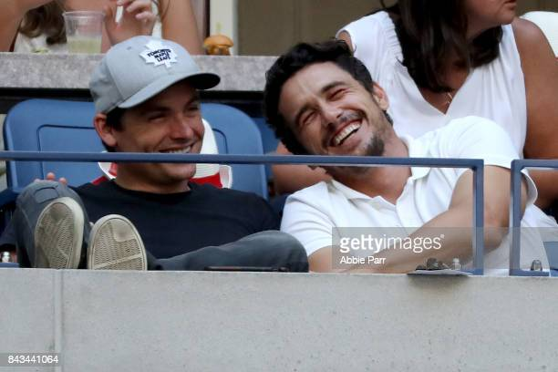 Actor James Franco watches Sloane Stephens of the United States play against Anastasija Sevastova of Latvia during their Women's Singles Quarter...