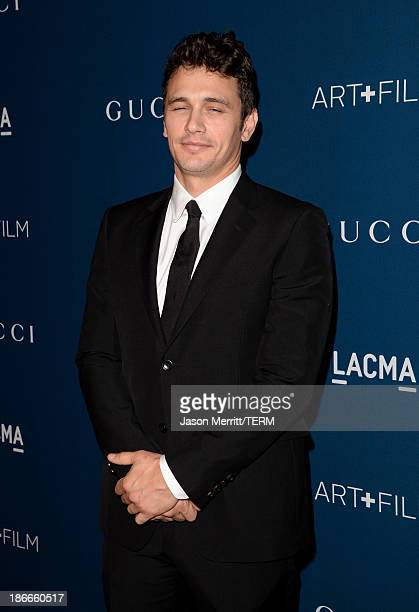 Actor James Franco, wearing Gucci, attends the LACMA 2013 Art + Film Gala honoring Martin Scorsese and David Hockney presented by Gucci at LACMA on...