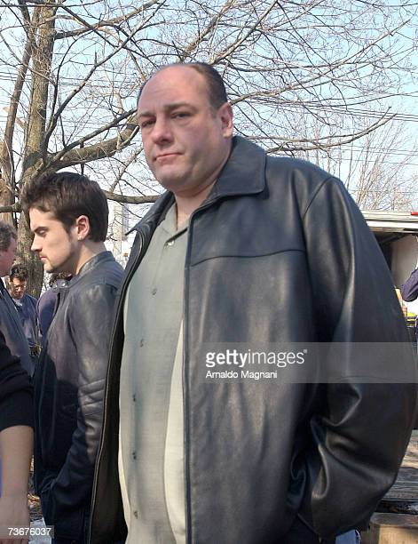 Actor James Gandolfini and actor Robert Iler on site for the filming of the final episode of 'The Sopranos' March 22 2007 in Bloomfield New Jersey