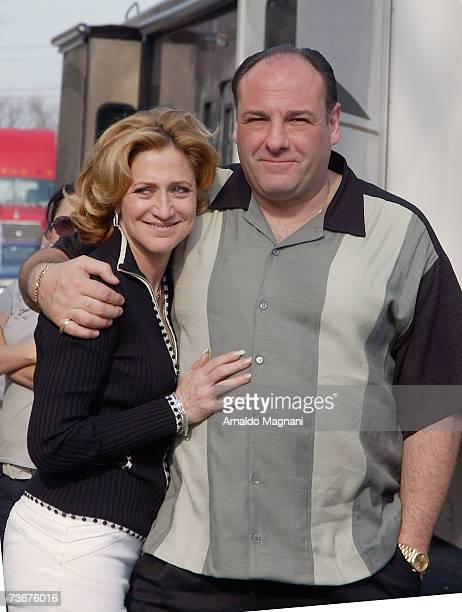 Actor James Gandolfini and actress Edie Falco pose on site for the filming of the final episode of The Sopranos March 22 2007 in Bloomfield New Jersey