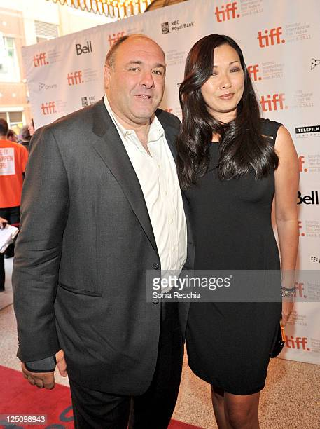 Actor James Gandolfini and Deborah Lin arrive at Violet Daisy Premiere at The Elgin during the 2011 Toronto International Film Festival on September...