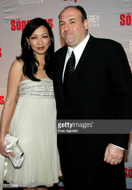 Actor James Gandolfini and Deborah Lin attend the HBO premiere of The Sopranos at Radio City Music Hall on March 27 2007 in New York City