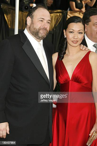 Actor James Gandolfini and fiancee Deborah Lin arrive to the 14th Annual Screen Actors Guild Awards at the Shrine Auditorium on January 27 2008 in...
