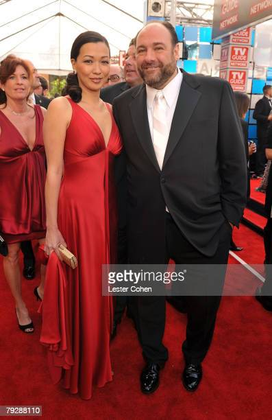 Actor James Gandolfini and fiancee Deborah Lin arrive to the TNT/TBS broadcast of the 14th Annual Screen Actors Guild Awards at the Shrine Auditorium...