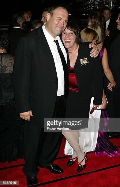 Actor James Gandolfini and guest at HBO?S post Emmy party following the 56th annual primetime Emmy Awards held at the Pacific Design Centre on...