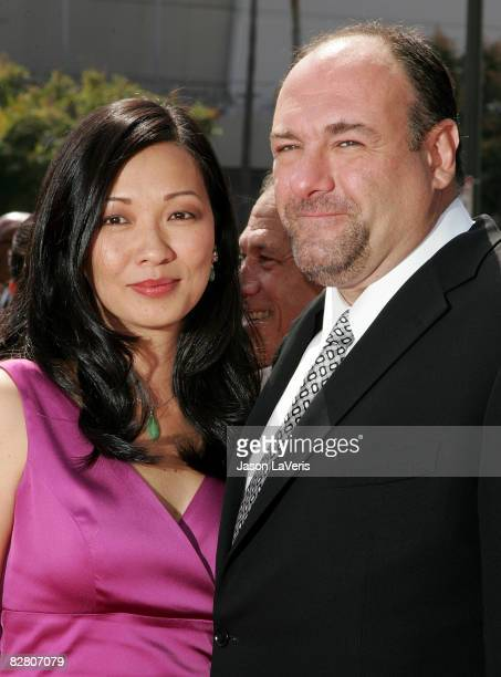 Actor James Gandolfini and his wife Deborah Lin attend the 2008 Primetime Creative Arts Emmy Awards at the Nokia Theater on September 13 2008 in Los...
