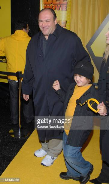 Actor James Gandolfini and son Michael arrive at the premiere of Bee Movie on October 25 2007 at the AMC Lincoln Square Theater in New York City