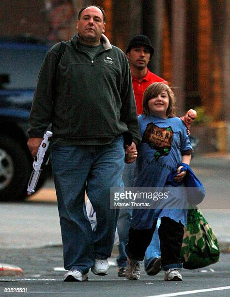 Actor James Gandolfini and son Michael Gandolfini seen TrickorTreating in the West Village on October 31 2008 in New York City