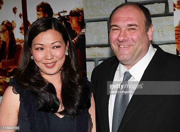 Actor James Gandolfini and wife Deborah Lin attend the premiere of HBO Films' Cinema Verite at the Paramount Theater on 2011 in Hollywood California