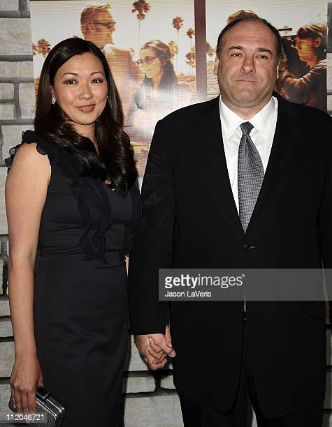 Actor James Gandolfini and wife Deborah Lin attend the premiere of Cinema Verite at Paramount Theater on the Paramount Studios lot on April 11 2011...