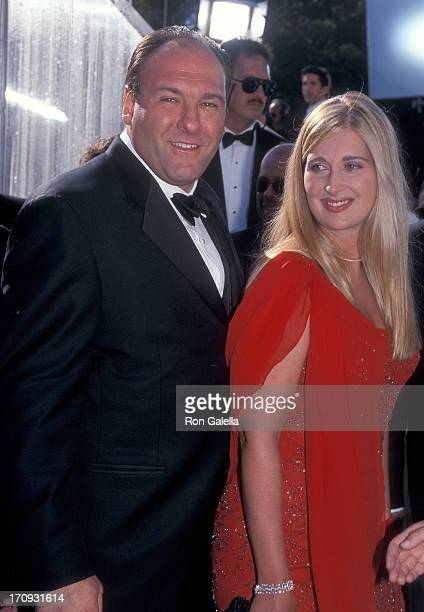 Actor James Gandolfini and wife Marcy attend the 51st Annual Primetime Emmy Awards on September 12 1999 at the Shrine Auditorium in Los Angeles...