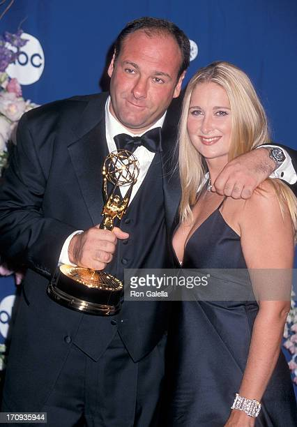 Actor James Gandolfini and wife Marcy attend the 52nd Annual Primetime Emmy Awards on September 10 2000 at the Shrine Auditorium in Los Angeles...