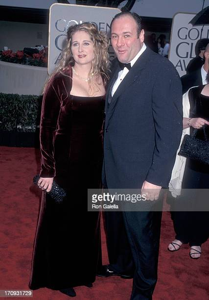 Actor James Gandolfini and wife Marcy attend the 57th Annual Golden Globe Awards on January 23 2000 at the Beverly Hilton Hotel in Beverly Hills...
