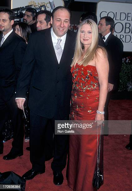 Actor James Gandolfini and wife Marcy attend the 58th Annual Golden Globe Awards on January 21 2001 at the Beverly Hilton Hotel in Beverly Hills...