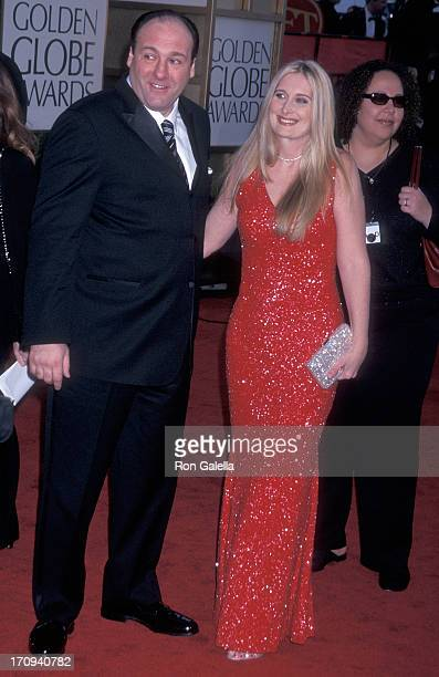 Actor James Gandolfini and wife Marcy attend the 59th Annual Golden Globe Awards on January 20 2002 at the Beverly Hilton Hotel in Beverly Hills...