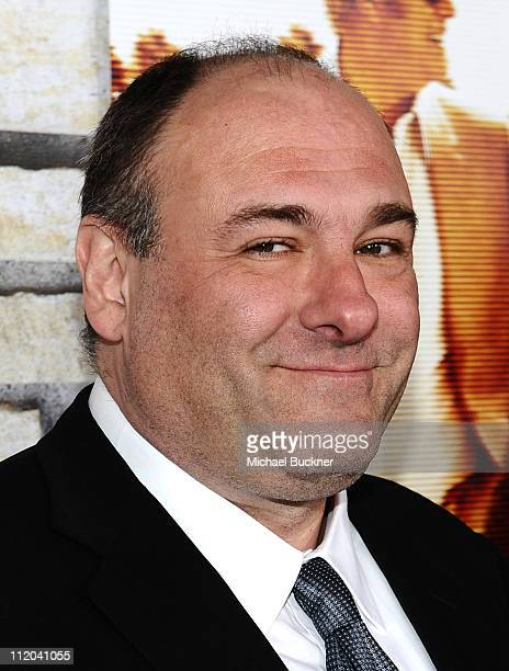 Actor James Gandolfini arrives at the premiere of HBO Films' 'Cinema Verite' at the Paramount Theatre on April 11 2011 in Hollywood California