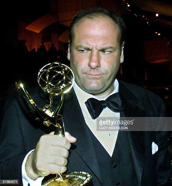US actor James Gandolfini holds his trophy for Lead Actor in a Drama Series category for his role in The Sopranos at the Governor's Ball post Emmy...