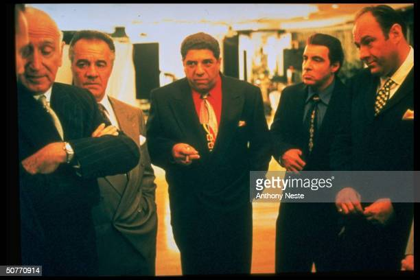 Actor James Gandolfini w others in a scene from the TV series The Sopranos