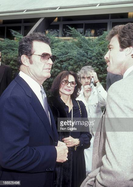Actor James Garner wife Loise Clarke and Tom Selleck attend the funeral service for David Janssen on February 17 1982 at Hillside Memorial Park in...