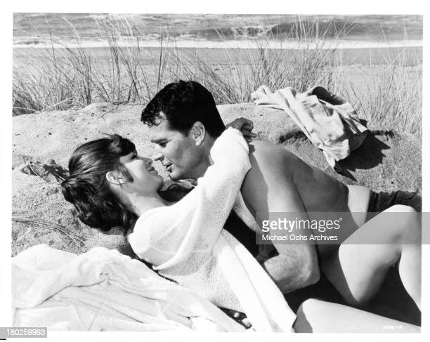 "Actor James Garner with actress Katharine Ross on the set of MGM movie "" Mister Buddwing"" in 1966."